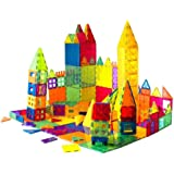 Mag-Genius Award Winning Building Magnet Tiles Toy Clear Colors 3D Brain Building Blocks Set with All New Cylinder Design Tru