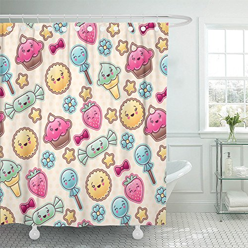 Emvency Shower Curtain Waterproof Candy Kawaii Child Pattern