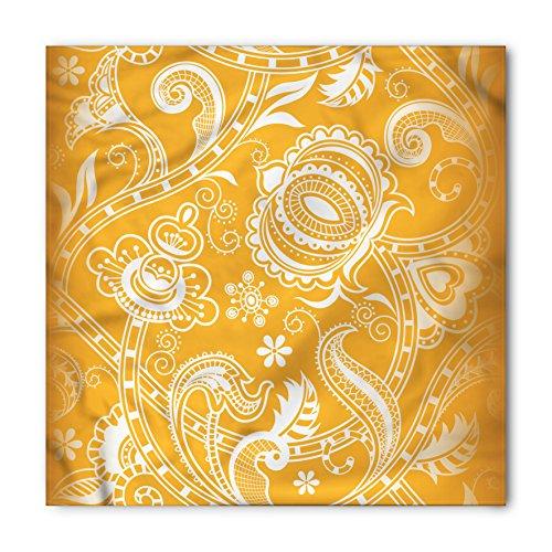 - Lunarable Unisex Bandana, Mustard Floral Pattern with Swirls, Marigold White