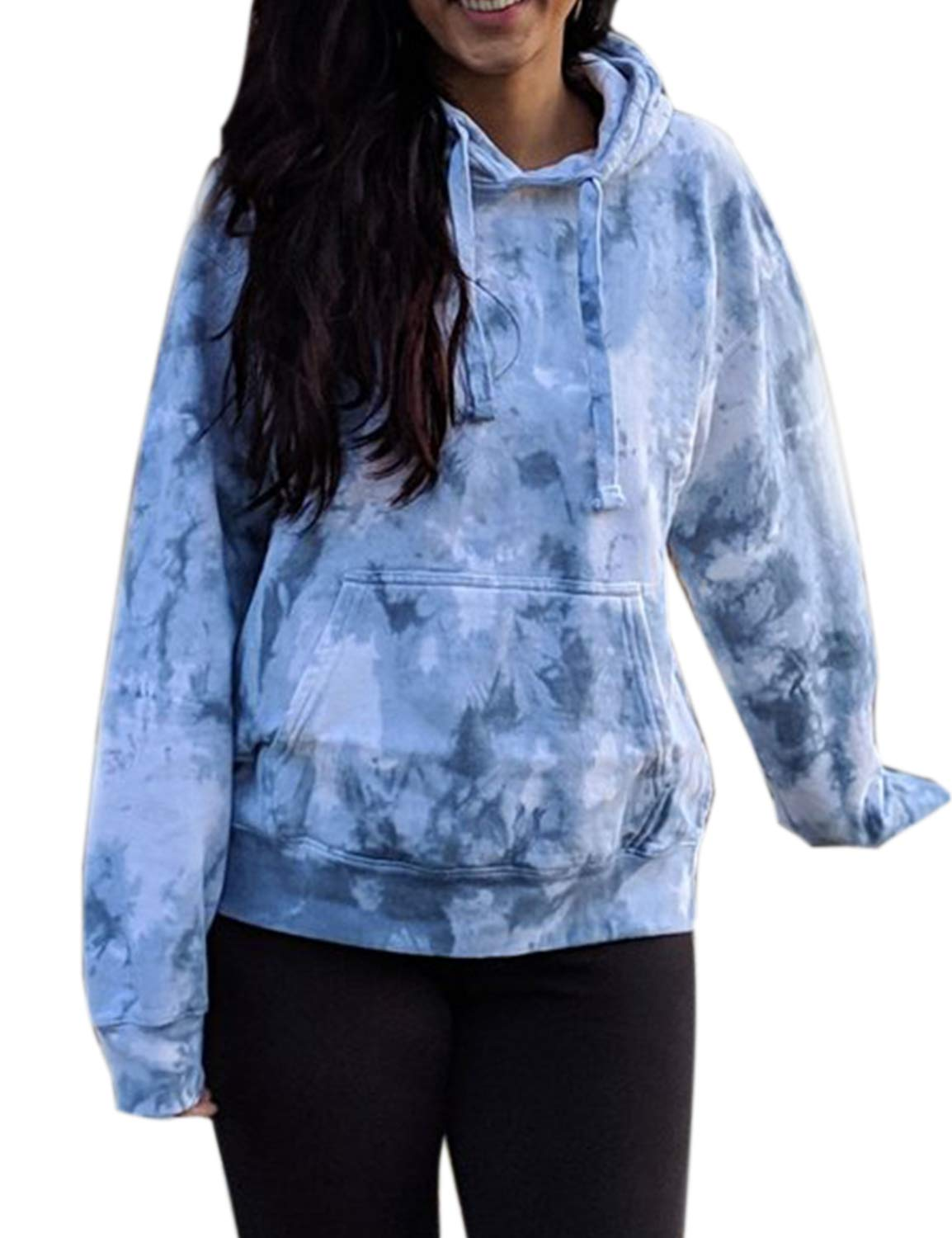 Blooming Jelly Womens Long Sleeve Tie Dye Pullover Hoodies with Pocket Blue
