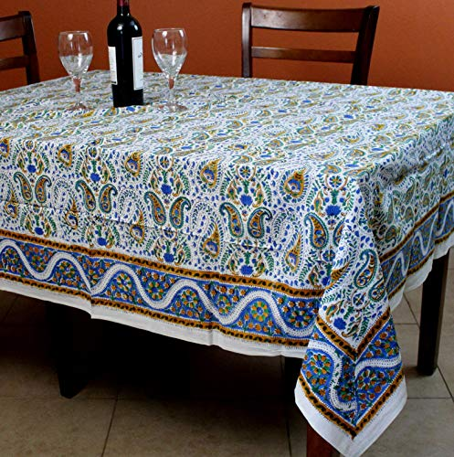 Mikash Hand Block Print Paisley Floral Tablecloth Square Tables Cotton Table Linen | Model TBLCLTH - 108