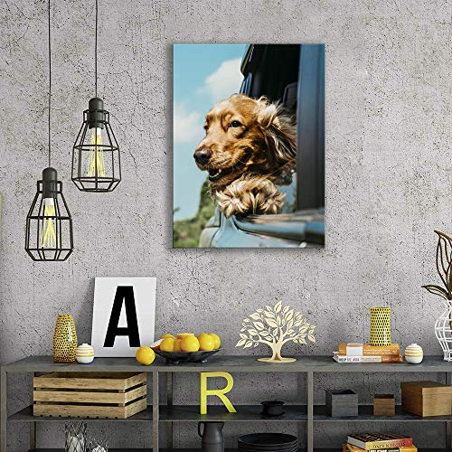 Dogs Decor Pictures for Bedroom Wall Decoration Golden Retriever and Bulldog Canvas Prints Gifts framed 2 Panels×12×16 Inch Bathroom Pictures Wall Decor Animals Poster Painting Ready to Hang
