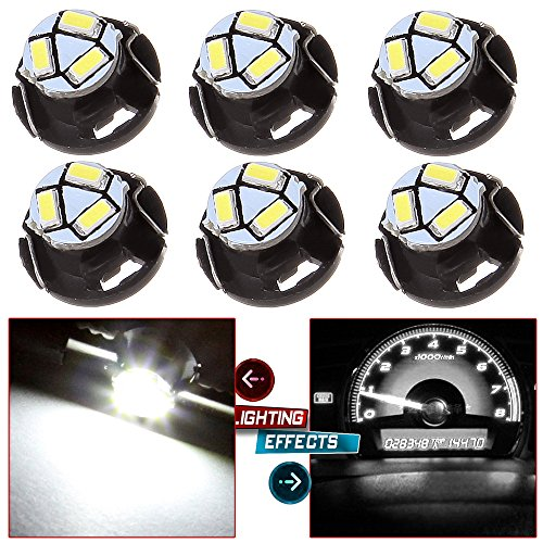 cciyu 6 Pack White T5/T4.7 Neo Wedge 3LED Bulb A/C Climate Control Light Replacement fit for 1999-2001 Saab 9-3