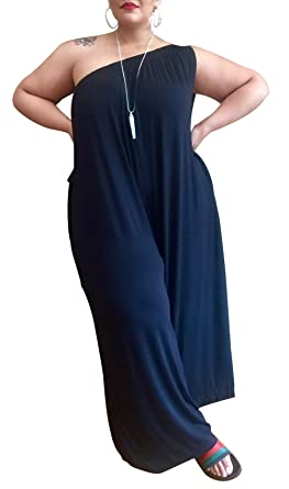 6f91d41b181 Amazon.com  LAJIOJIO Womens Casual Plus Size Jumpsuits Off Shoulder Loose  Wide Leg Long Pants Jumpsuit Romper with Pockets S-3XL  Clothing