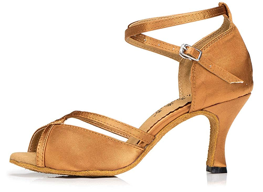 Womens Latin Dance Evening Ballroom Shoes Tango Cha-cha Salsa ChaCha Party 0020 Brown US Size4 3.15IN
