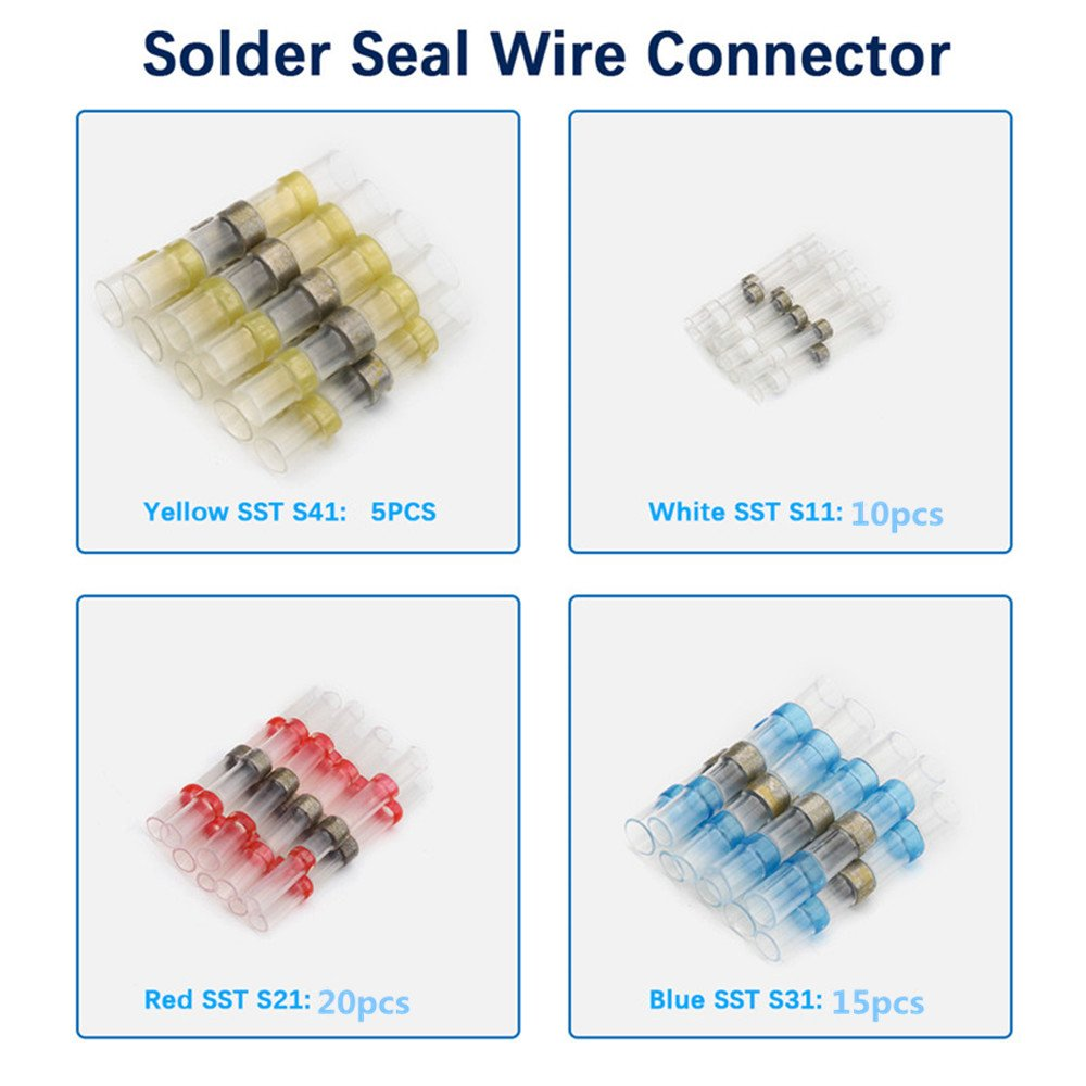 XINHONGJING 50 PCS Solder Seal Wire Connectors-Electrical Heat Shrink Wire Connectors- Automotive Marine Butt Terminals-Insulated Waterproof Wire Splice by XINHONGJING (Image #4)