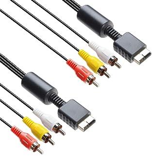 2 cables RCA de audio y vídeo para consola de juegos, accesorios de conexión, cable AV para PS1, PS2, PS3, 6 pies: Amazon.es: Industria, empresas y ciencia