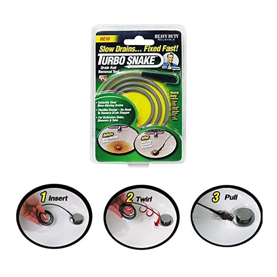 Turbo Snake Sink Slow Drains Fixed Clog Hair Clear Tool Removal Cleaner Seen TV - Drain Augers - Amazon.com