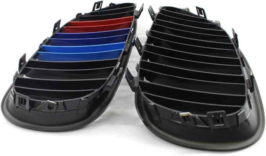 Deebior 2pcs For 2003-2009 BMW E60//E61 5-Series Sedan//Wagon BMW 525 528 530 535 540 545 550 M5 Glossy Black M-Tri Color Kidney Grille Front Bumper Hood ABS Plastic Grille