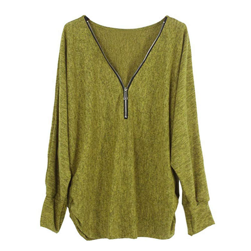 iLXHD Fashion Womens Autumn Winter Long Sleeve Pullover Top Shirt Zipper Blouse