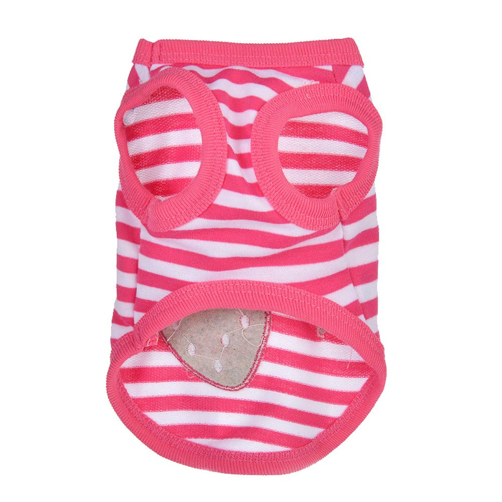 KONFA Cute Puppy Vest Spring Cute Cartoon Strawberry Striped Warm Pet Dog Clothes Soft Pullover for Small Doggie Cat Apparel
