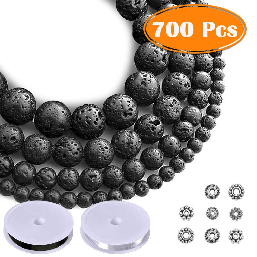 Paxcoo 700pcs Lava Beads Black Lava Stone Rock Beads Kit with Bracelet Spacers and Bracelet String for Essential Oils Adult Jewelry Making Supplies by PAXCOO