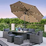 Best Choice Products 10' Deluxe Solar LED Lighted Patio Umbrella With Tilt Adjustment-Tan