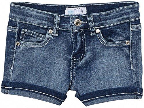 ToBeInStyle Girl's Denim Mini Shorts with Triangle Zig Zag Design - 7