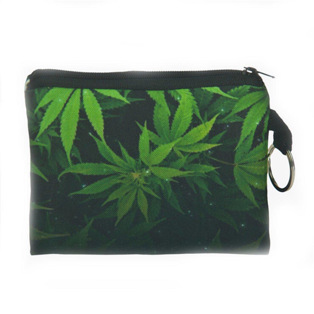 VWH Small Storage Bag Weed Leaf Printed Handbag Zip Coin Bag Case Key Card Holder Purse Wallet