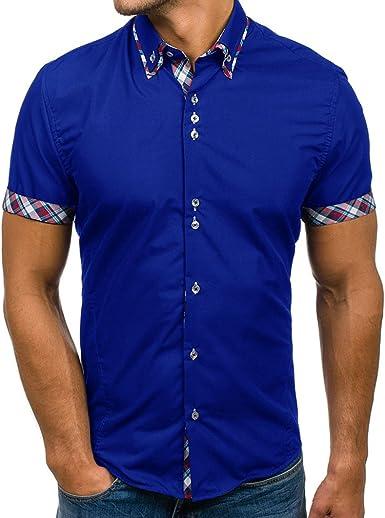 hibote Camisa Hombre Mezcla de algodón Casual de Manga Corta Top Color Sólido Suelta Camisas Apropiado Cómodo Transpirable Camisa M-3XL: Amazon.es: Ropa y accesorios