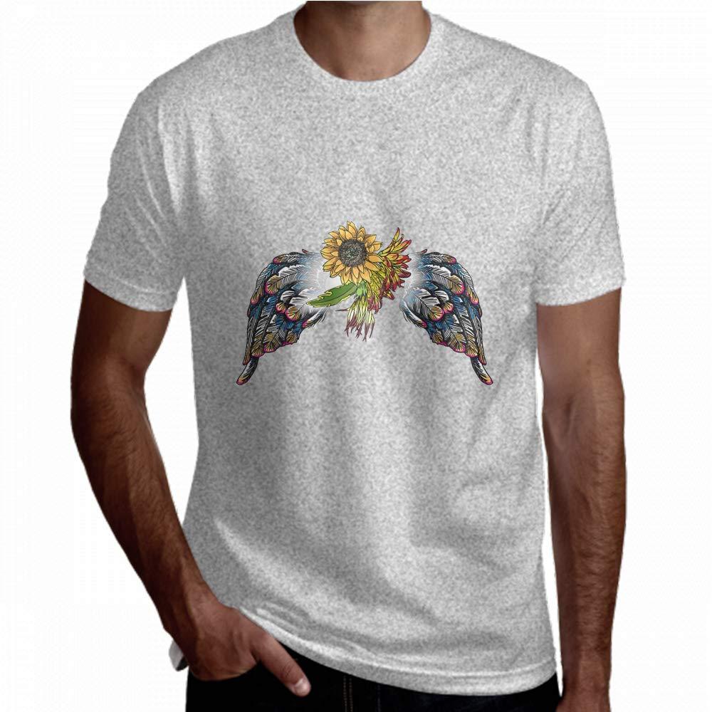 Fun T-Shirt for Men Colorful Flowers Beauty Bird Wings Short Sleeve Tee Men