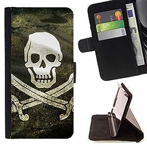 KingStore / Leather Etui en cuir / Sony Xperia Z3 D6603 / Bandera de pirata de Grunge