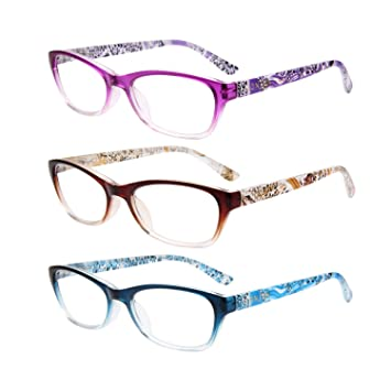 1474341c37f ... Fashion Retro Reading Glasses for Women Men with Magnification 1.0 1.5  2 00 2.50 3.0 3.5 4.0 L3716 BN-BU-PL(+2.00)  Amazon.co.uk  Health   Personal  Care