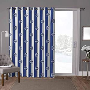 YUAZHOQI Blackout Window Curtains, Sailor Stripes Breton with Silhouettes of Ships Wheels Classic Artwork, W100 x L96 Inch Decorative Room Divider(1 Panel)