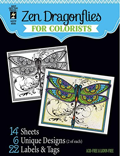 Hot Off the Press For Colorist Book - Zen Dragonflies for Colorists - 14 Black & White Sheets of Heaay Card