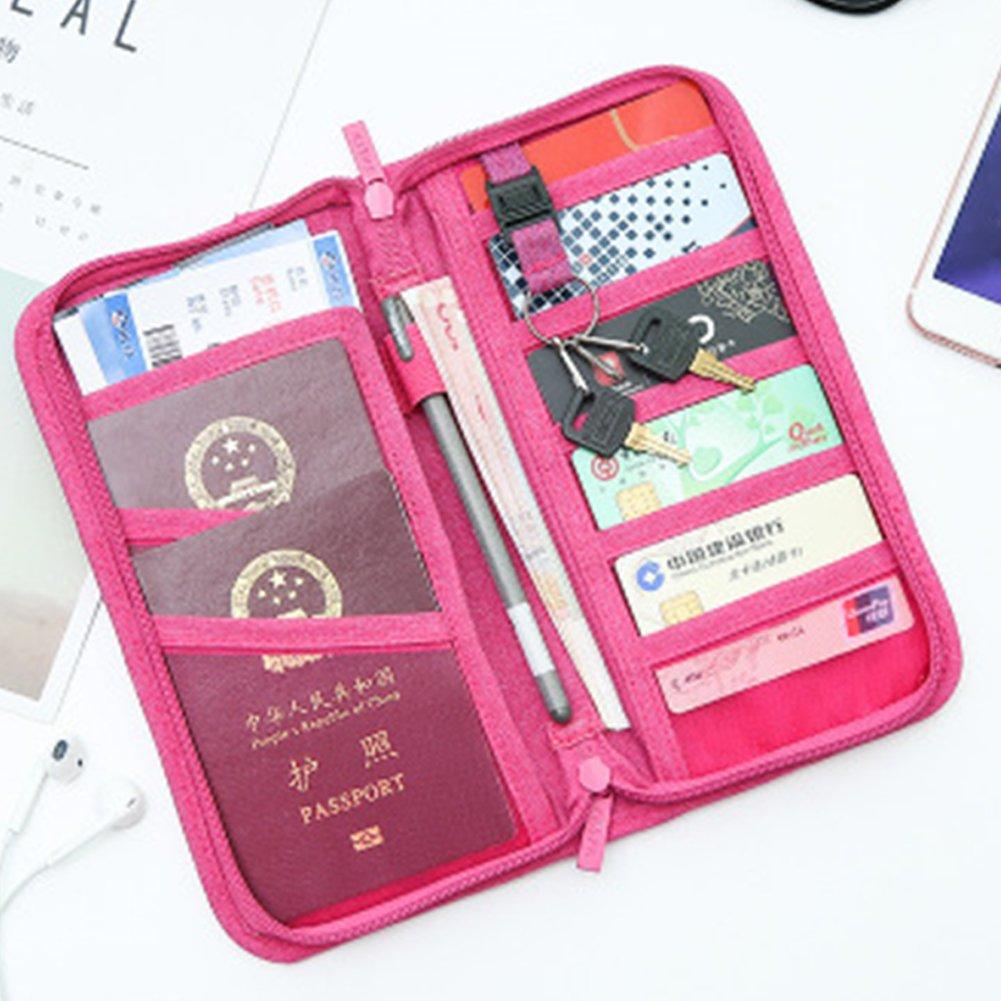 JHion Multi-Function Travel Certificate Wallet Passport Holder &Documents Organizer Zipper Case Rose