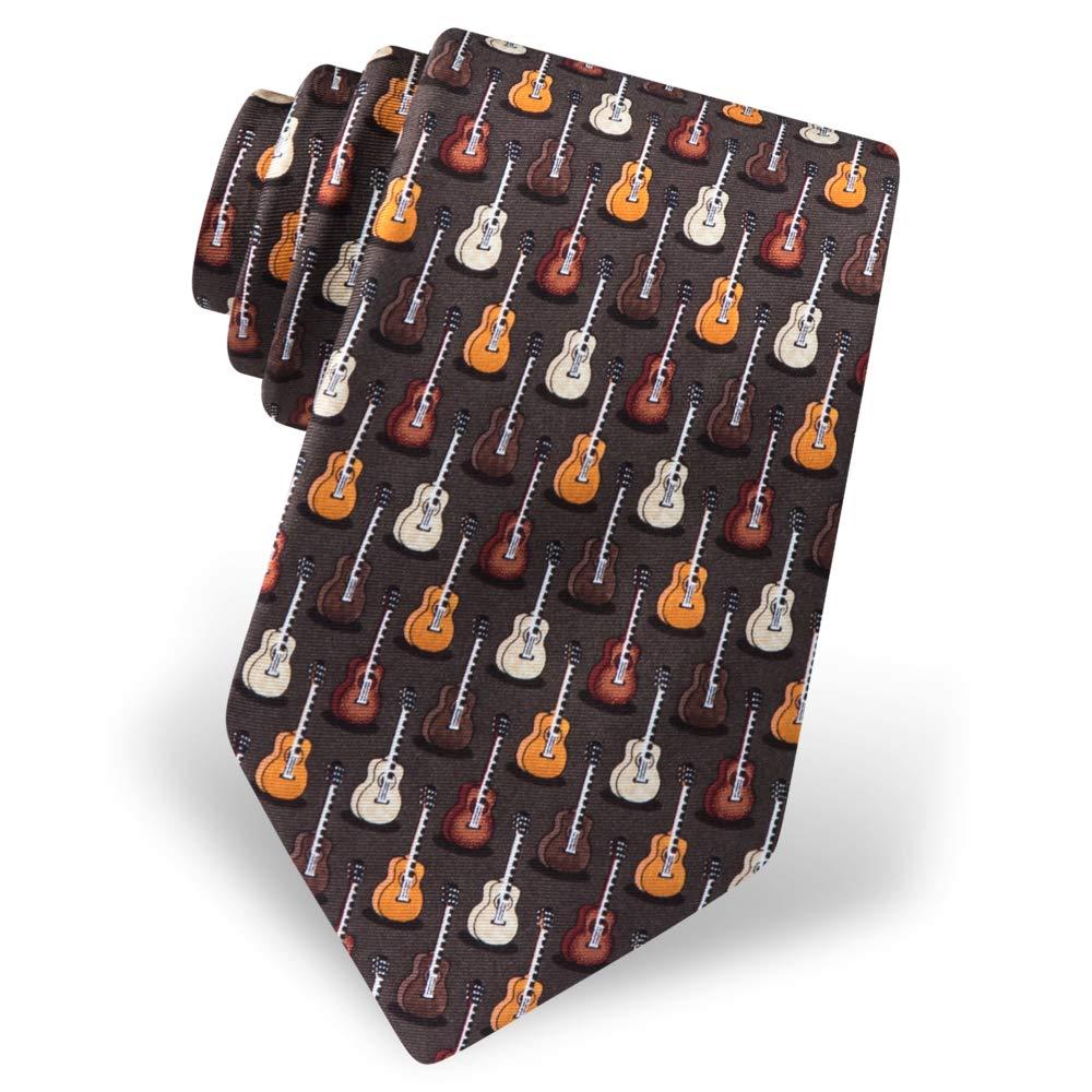 Mens 100/% Silk Brown Unplugged Guitar Musical Instrument Tie Necktie