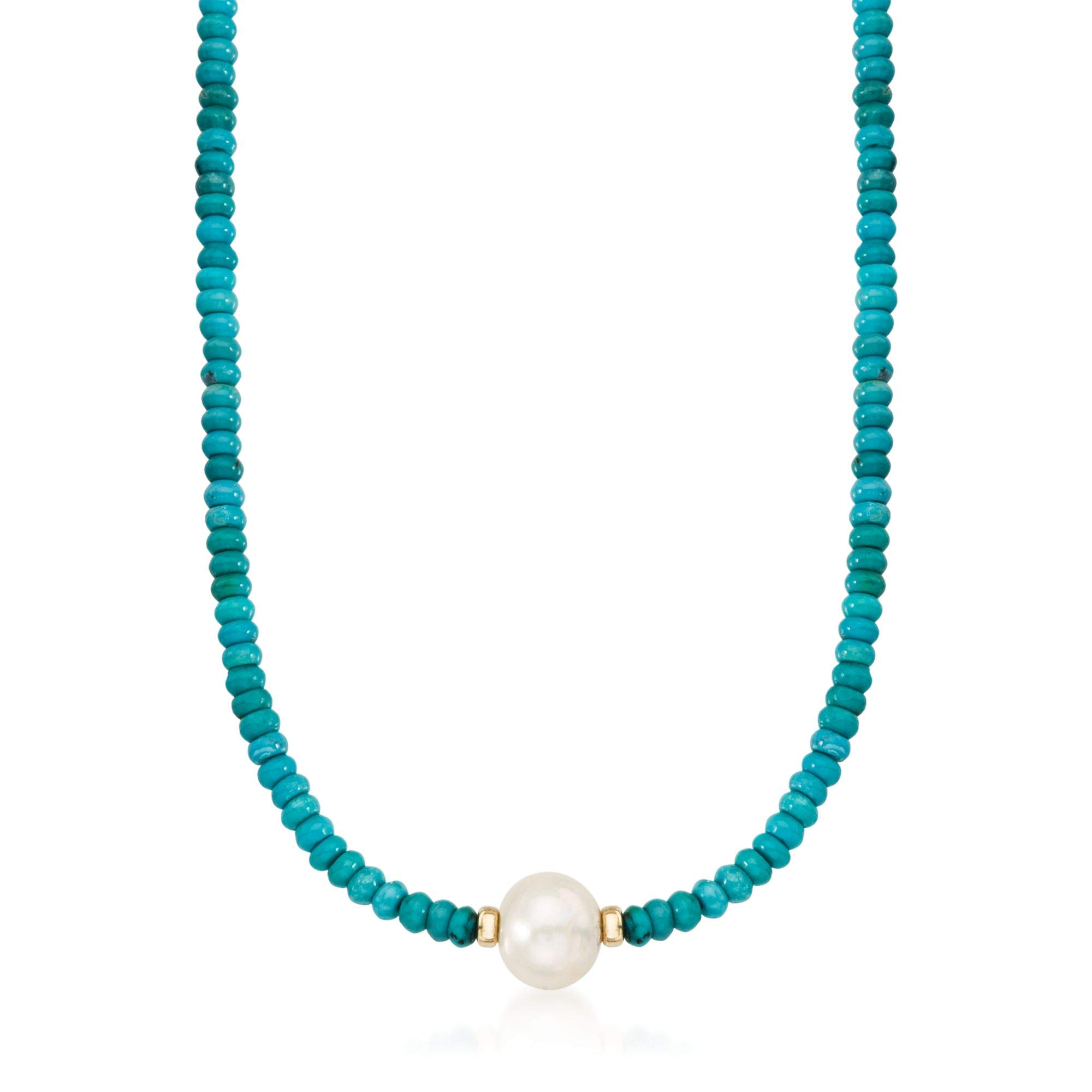 Ross-Simons Turquoise Bead and 12-13mm Cultured Pearl Necklace in 14kt Yellow Gold by Ross-Simons
