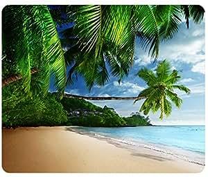 Tropical Landscape Palm Trees Sunshine Beach Coast Sea Sky Blue Mousepad,Custom Rectangular Mouse Pad
