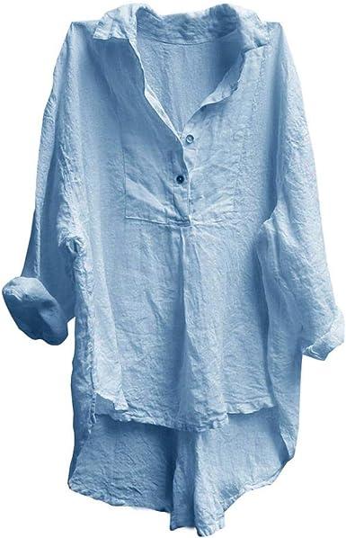 VJGOAL Blusa con Botones para Mujer Moda Cuello en V Color sólido Casual Manga Larga Suelta Camisas Irregulares: Amazon.es: Ropa y accesorios