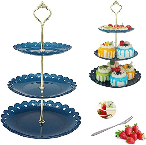 Dessert Pastry Stand Cake Appetizer Stand Plastic 3 Tier Cupcake Serving Tray Platters Fruit Plates Display For Wedding Tea Birthday Evening Party Christmas New Year S Day Black Friday Cake Stands