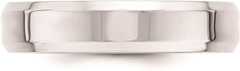 10k White Gold 5mm Bevel Edge Comfort Fit Wedding Ring Band Size 4-14 Full /& Half Sizes