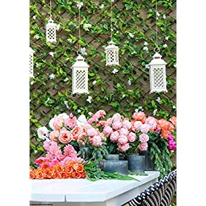 Events & Crafts Accordian Ivy Lattice Fence with Flowers 8' 4