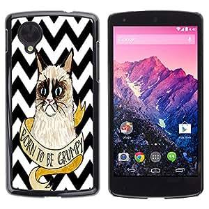 - Chevron Grumpy Cat - - Fashion Dream Catcher Design Hard Plastic Protective Case Cover FOR LG Nexus 5 D820 D821 Retro Candy