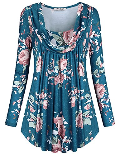 (SeSe Code Business Casual Clothes for Women Ladies Floral Tunics Long Sleeve Pleats Flowing Tops to Wear with Leggings Knitted Springy Beautiful Blouses Fashion Blue-2 M)