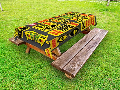 Lunarable Outer Space Outdoor Tablecloth, Warning Ufo Signs with Alien Faces Heads Galactic Theme Paranormal Activity Design, Decorative Washable Picnic Table Cloth, 58 X 84 Inches, Yellow by Lunarable