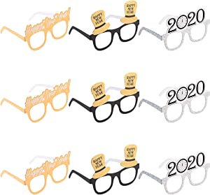 Amosfun Happy New Year Eyeglasses Fancy New Year Party Glasses Celebration Party Favor for 2020 New Year's Eve Party Decors, Pack of 9