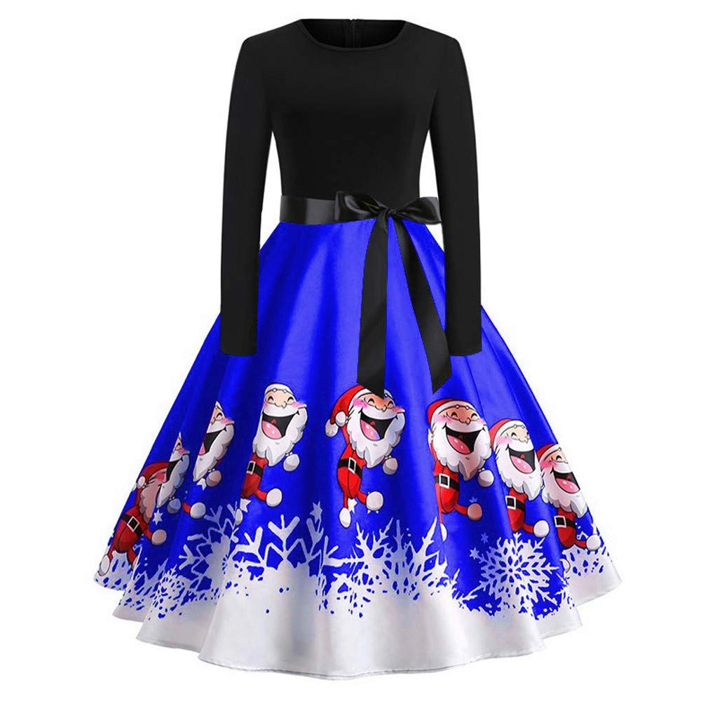 Yuan 2019 Women's Vintage Print Long Sleeve Christmas Floral Evening Party Swing Dress Red, Blue, Green, Purple(S-5XL)