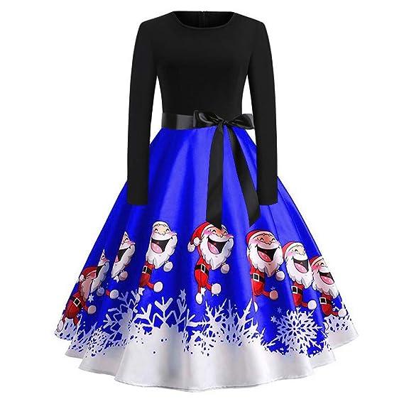 a3e4e4d760e4d Womens Long Sleeve Christmas Dress Ladies Vintage Santa Claus Print Evening  Party Swing Dress Novelty Gift Size 6-14: Amazon.co.uk: Clothing