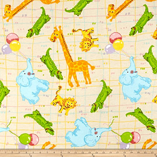 Fabri-Quilt Flannel Animals Fabric by The Yard, Multicolor