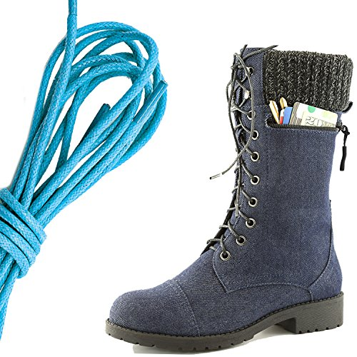 DailyShoes Womens Combat Style Lace up Ankle Bootie Round Toe Military Knit Credit Card Knife Money Wallet Pocket Boots, Blue Blue Denim