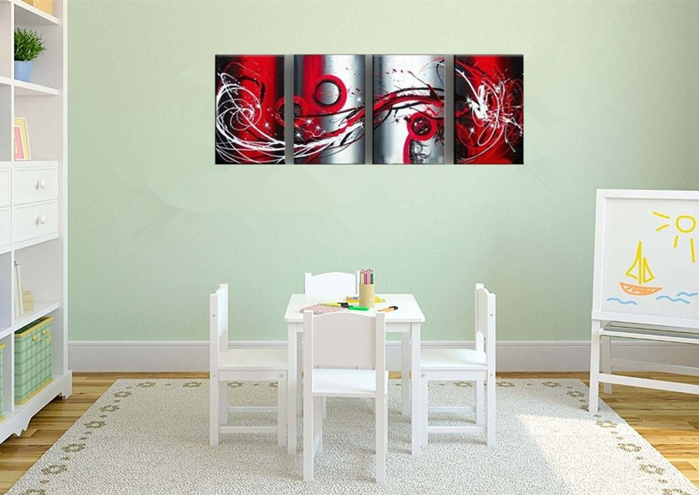 OUTH Grey White Black Red Passion Large Wall Painting On Canvas Monder Abstract Oil Painting Art Home Decoration Living Room Decor Home Decor