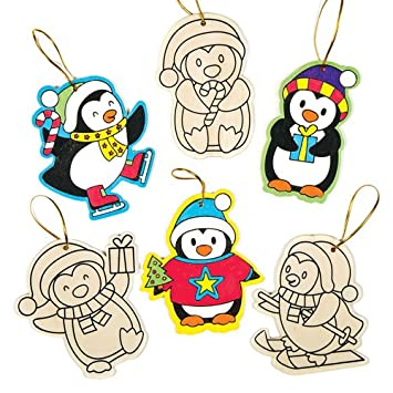 10 WOODEN Christmas Characters Colour-in Hanging Decorations Kit Kids Crafts