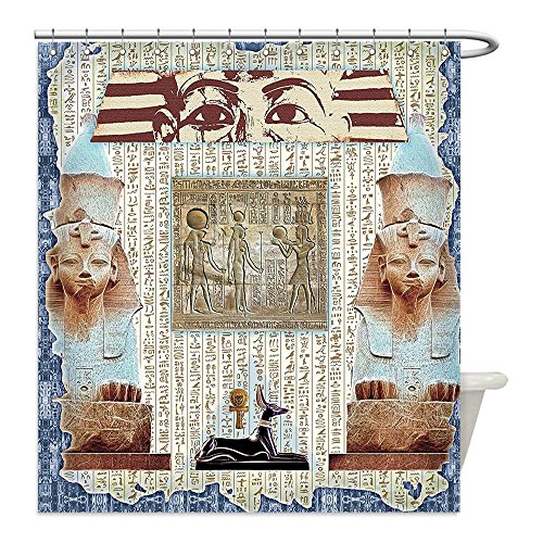 Diy Mummy Costume Ideas (Liguo88 Custom Waterproof Bathroom Shower Curtain Polyester Egypt Decor Traditional Hieroglyph Backdrop with Mummy Pyramids and Bastet Collage Art Taupe Navy Decorative bathroom)