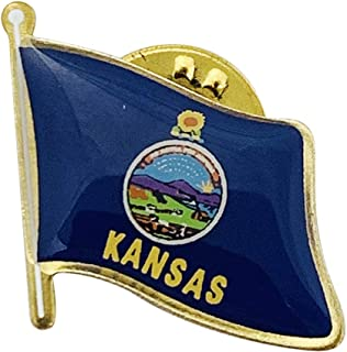 product image for Set of 24 Kansas Single Waving State Flag Lapel Pin - Made in The USA