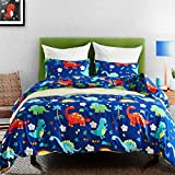 Macohome Duvet Cover Set Kids Boys Bedding Twin Dinosaur Cartoon Comforter Set  with 1 Envelope Pillowcase and 1 Duvet Cover (Dinosaur, Twin)