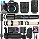 Canon EOS 6D DSLR Camera + Canon EF 24-70mm 2.8L II USM Lens + 650-1300mm Telephoto Lens + 70-300mm Macro Lens + 500mm Telephoto Lens + Battery Grip + 2yr Extended Warranty - International Version