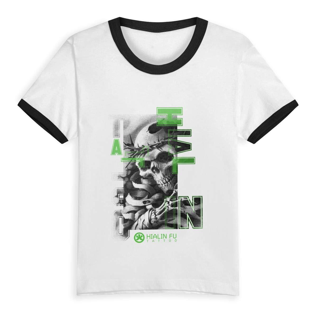 CY SHOP 3 Childrens Boys Girls Contrast Short Sleeve T-Shirt