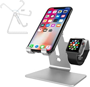 "2 in 1 Phone Stand for Apple Watch, ENIBON Adjustable Phone Holder Charging Station Stand for iWatch and 3.5""-8"" Smart Phones (Silver)"