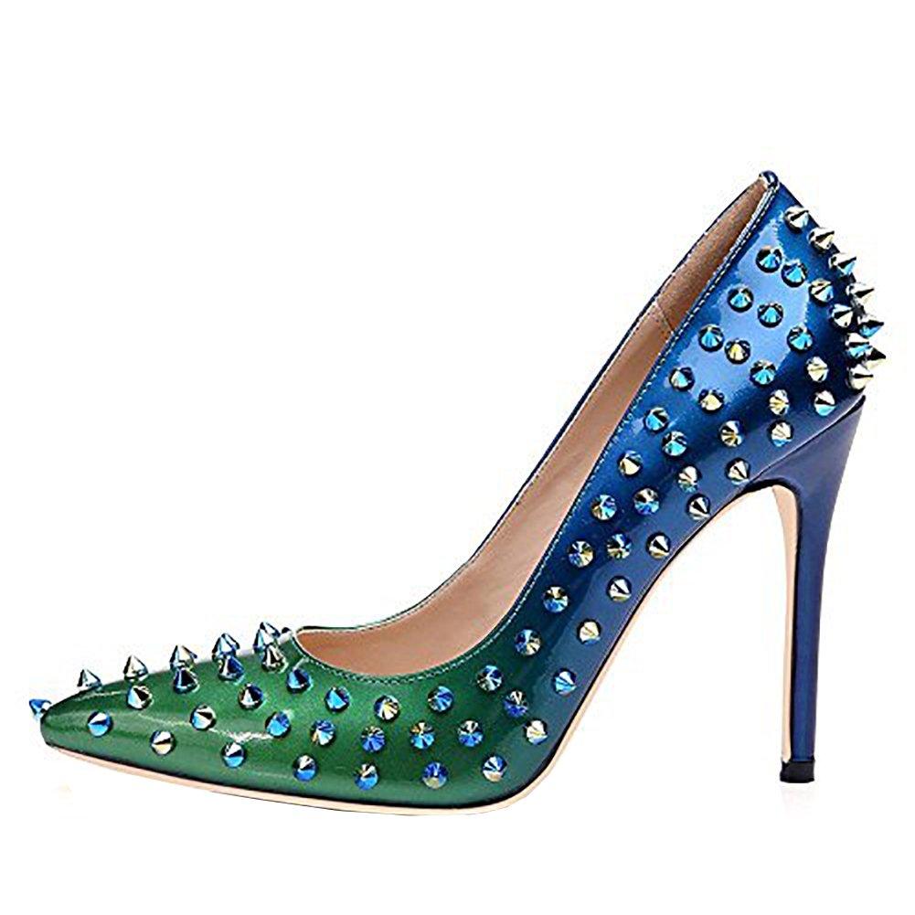 Arraysa Mujer sinoes Tacón De Aguja 12CM Sintético Ponerse Zapatos de tacón 37.5 EU Azul and Green